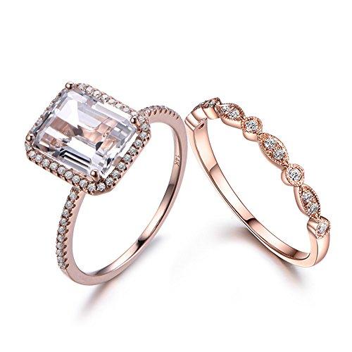 MYRAYGEM-wedding ring sets 2pcs White Topaz Engagement Ring Set 8x10mm Emerald Cut 14k Rose Gold Halo Vintage Diamond Matching Band