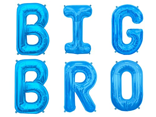 (Big Bro & Big Sis 16 inch Mylar Party Letter Balloons. Baby Announcement of Big Brother or Big Sister- Perfect Background Decorations- Gender Reveal Party. by PartyBox! (Blue, Big BRO))
