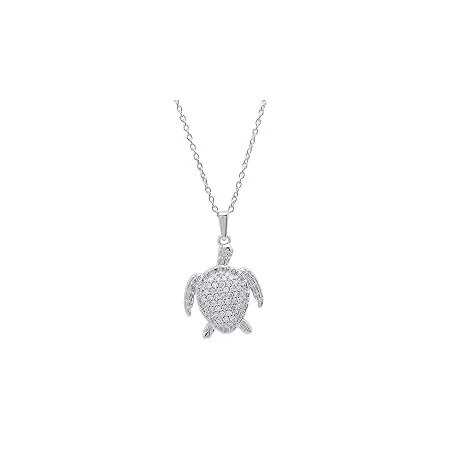 Dazzlingrock Collection 0.50 Carat (Ctw) 14K Gold White Diamond Ladies Sea Turtle Pendant 1/2 CT (Silver Chain Included)