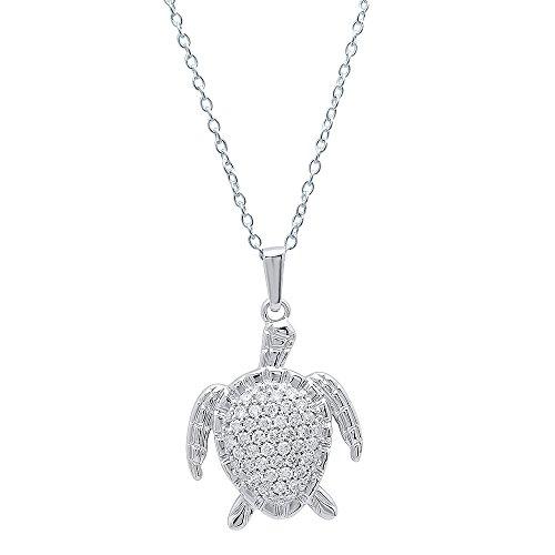 0.50 Carat (Ctw) 14K Gold White Diamond Ladies Sea Turtle Pendant 1/2 CT (Silver Chain Included)
