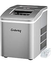 COSTWAY Aanrecht IJsblokjesmachine, kogelijsblokjes klaar in 8 minuten, maakt 12 kg ijs in 24 uur, draagbare ijsmachine met zelfreinigende functie, elektrische ijsmachine met schep en afneembare mand voor thuis, kantoor, feest en bar (Zilver)