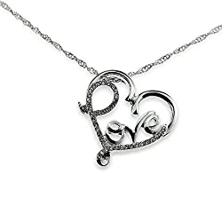 Crystal Accent Word Love Inside Open Heart Pendant Silver Necklace Perfect Gift Jewelry For Anniversary