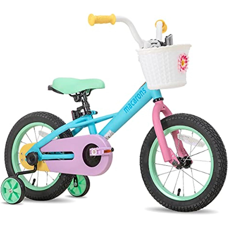 "JOYSTAR 12 14 16"" Kids Bike for 2-7 Years Girls 33-53 inch Tall, Girls Bicycle with Training Wheels & Coaster Brake, 85% Assembled, Macarons"