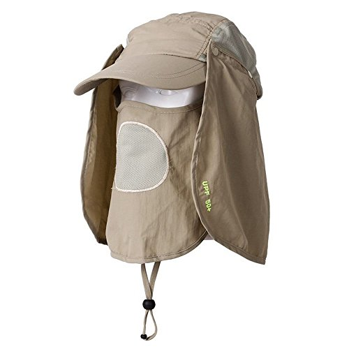480ff814 HOVEOX UV 50+ Sun Protection Fishing Flap Hat Neck Protection Cap with Removable  Sun Shield