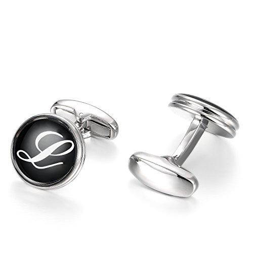 Merit Ocean Mens Letter Initial Cufflinks Alphabet Rhodium Plated Cuff Links Wedding Business A-Z