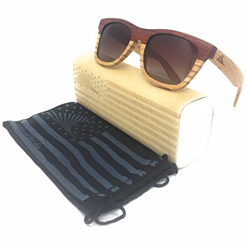 2 Tone Rosewood Floating Bamboo Wood Wayfarer Sunglasses with Polarized Gradient Lens | Loudmouth Patriot Shades (Sunglasses Cork)