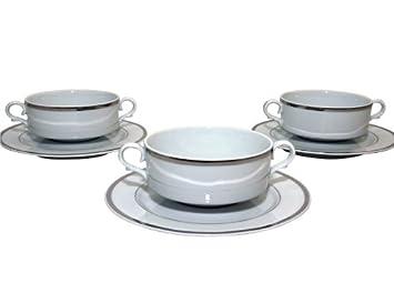 Santa Clara Granada Bandita Platino - Set 6 Tazas consomé con plato: Amazon.es: Hogar