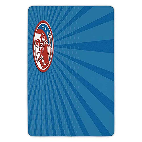 K0k2t0 Bathroom Bath Rug Kitchen Floor Mat Carpet,Sports,Pop Art Gridiron Illustration with Old Fashioned Visual Properties Throwing Man Print,Blue Red,Flannel Microfiber Non-Slip Soft Absorbent