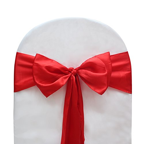 - Universal Decor Suppliers Red Color Satin Bow for Wedding and Events Supplies Party Decoration Chair Cover Sashes 20 Pcs