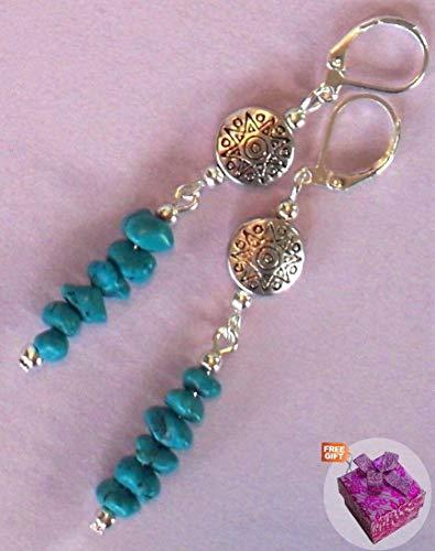 (Blue Turquoise Tibetan Style Disk Earring Sp Leverback Artisan Earrings For Women Set + Gift Box For Free)