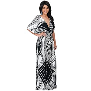 8c1f4a76e61 KOH KOH Petite Women Long Summer Formal Chevron V-Neck Evening Sexy Graphic  Printed Causal Work Loose Evening Sun Flowy Gown Gowns Maxi Dress Dresses