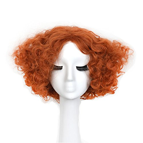 Yuehong Party Hair Short Curly Orange Wig Movie Halloween Costumes Synthetic Cosplay Wigs -