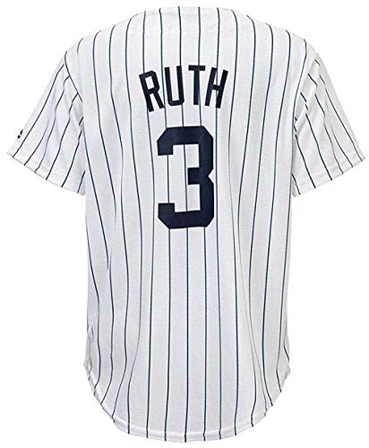 (Outerstuff Babe Ruth New York Yankees MLB Majestic Youth 8-20 White Pinstripe Home Cool Base Replica Jersey (Youth Large 14-16))