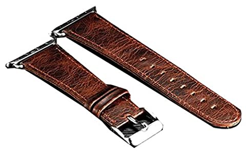 Cruiize Genuine Leather Apple Watch Band 38mm/42Wristband with Retro Crazy Horse Texture for iWatch All Version (Turn Concrete Into Gold)