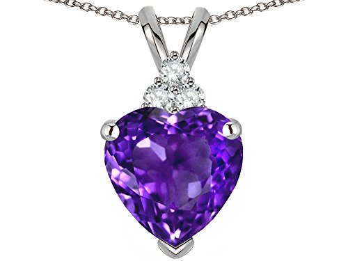 (Star K 8mm Heart Shape Genuine Amethyst Three Stone Pendant Necklace 14 kt White Gold)
