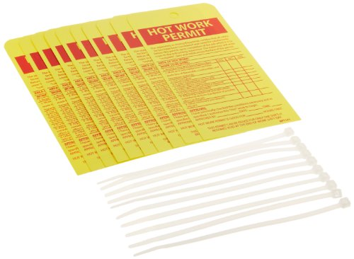NMC RPT171''HOT WORK PERMIT'' Accident Prevention Tag, Unrippable Vinyl, 4'' Length, 7-1/2'' Height, Red on Yellow (Pack of 10) by NMC (Image #1)