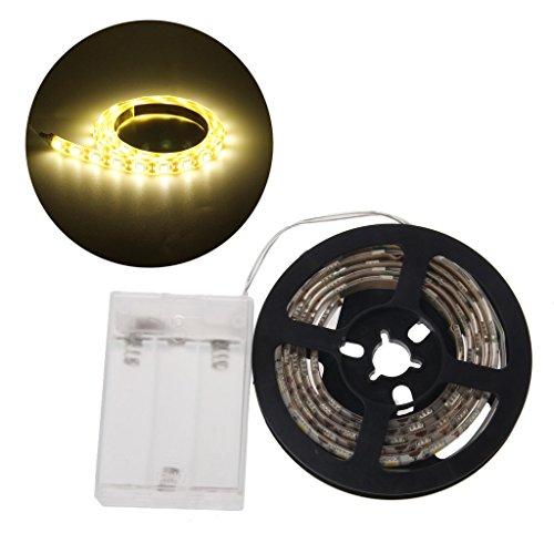 Hukai 4.5V Waterproof 5050 RGB Battery Operated 30 LED/m Flexible Strip Light TV Back Lighting Kit (Warm White)