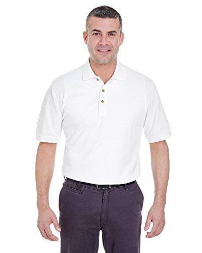 UltraClub Mens Classic Pique Polo - White - S