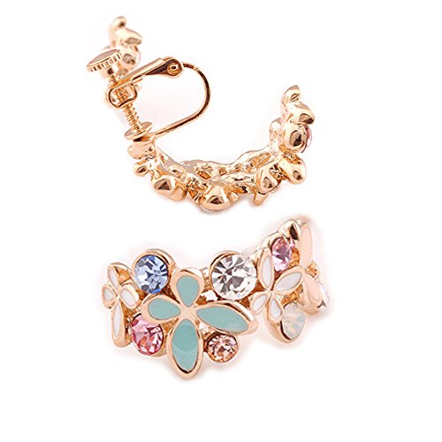 (Latigerf Fashion Jewelry Gold Plated Women's Butterfly Flower Screw Back Non-Pierced Clip on Earring Clips for non Pierced Ears for Girl Blue)