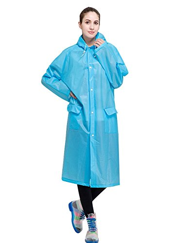 AIRCEE Lightweight Easy Carry Poncho Wind Hooded Jacket Raincoat (Blue) (Long Raincoats For Men With Hood compare prices)