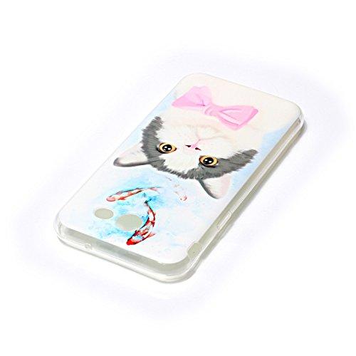 Funda Carcasa Transparente Silicona para Samsung Galaxy J3 Prime(Lápiz Táctil Negro),KaseHome Único Smiley Patrón Cristal Claro Ultra Delgado Suave Durable Caucho Parachoque [Anti Golpes] Alta Resiste Gato y pescados lindos