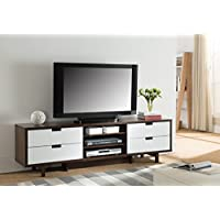 Dark Walnut & Glossy White Smart Home Entertainment Console TV Stand (70 Inch, Dark Walnut)