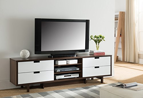 Price comparison product image Smart home 151359 Entertainment Console TV Stand (70 Inch,  Dark Walnut & Glossy White)
