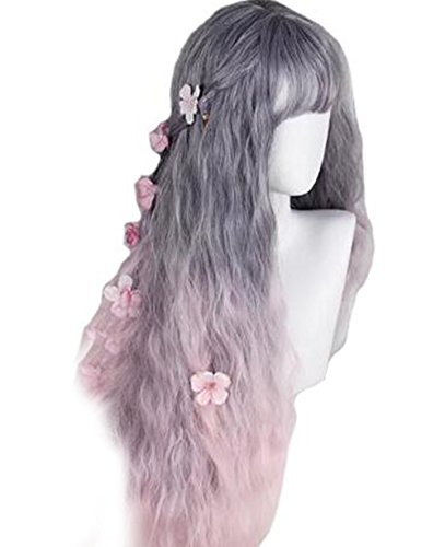 Women's Long Wavy Curly Wigs Grey Pink Ombre 2 Tone Lolita Wig Heat Resistant Synthetic Wigs for Costume Party Cosplay by MRealGal