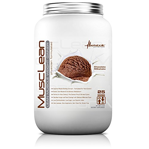 Metabolic Nutrition, Musclean, Whey Protein Meal Replacement, Weight Gainer, High Protein, Low Carb, High Fat, Keto Diet, Digestive Enzymes, 24 Vitamins and Minerals, Chocolate, 2.5 Pound (25 ser)