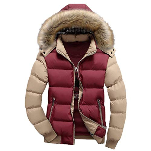 2 Brands Rot Padded Coat Faux Coat BOLAWOO Hood Parka Quilted Hooded Detachable Leisure Jacket Fashion Warm with Thicken Down Fur Waterproof Men's Padded Windproof UwB7gAq