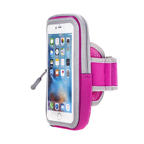 JULAM Sports Armband For iPhone 7 6S 6 Plus Samsung Galaxy S8 S7 S6 S5 Edge Plus 5.8 Inch Cell Phone Case Sweatproof Adjustable Running Armbag Zipper Pouch With Key Holder Wallet Card Slot (Pink)