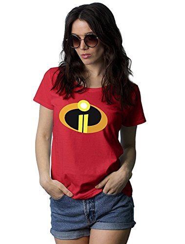 Red Womens Superhero Shirt - Gra[HIC Tees for Women | Incred 2, L