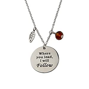ZUOBAO Where You Lead I Will Follow Hand Stamped Mother and Daughter Necklace (Silver)