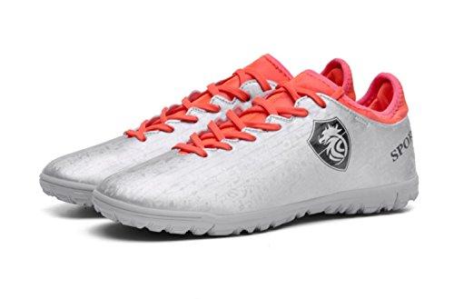 HYLM zapatos de fútbol de los estudiantes Zapatos de entrenamiento Zapatos de deporte al aire libre Zapatos ocasionales Tamaño 2-9 red / grey