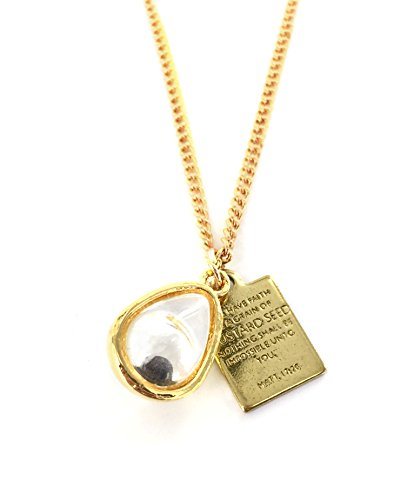 Real Mustard Seed Necklace - Teardrop with Bible Verse Plate - Great Motivational Gift for Someone Special in Your Life Mustard Seed Scripture