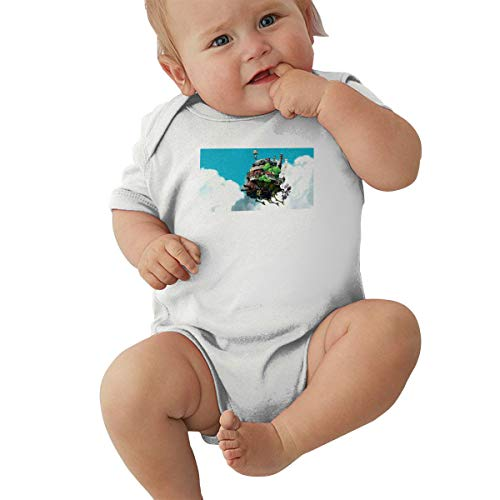 Kaivis Baby Boys Girls Round Neck Short Sleeve Onesie Howl's Moving Castle Funny Crawling Clothes White 47