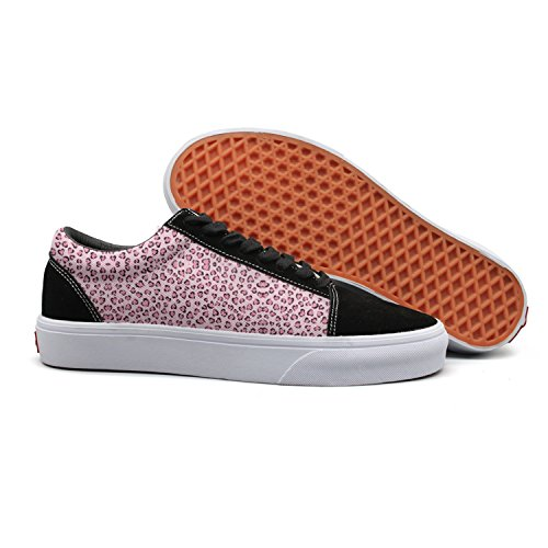 Pink One Love Leopard Cat Images Women Canvas Low Top Skateboarding Shoes