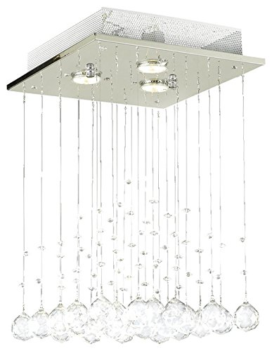 Saint Mossi Chandelier Modern K9 Crystal Raindrop Chandelier Lighting Flush mount LED Ceiling Light Fixture Pendant Lamp for Dining Room Bathroom Bedroom LivingroomGU10 Bulbs Required H18 X W12 X L12 - French Bronze Finish 4 Bulbs