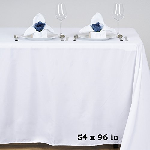 Efavormart 54x96 White Wholesale Linens Polyester Tablecloths Rectangle Banquet Linen Wedding Party Restaurant Tablecloth