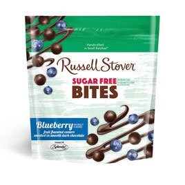 Russell Stover Sugar-Free Dark Choc Bites Resealable Bag, Blueberry, 5 Ounce