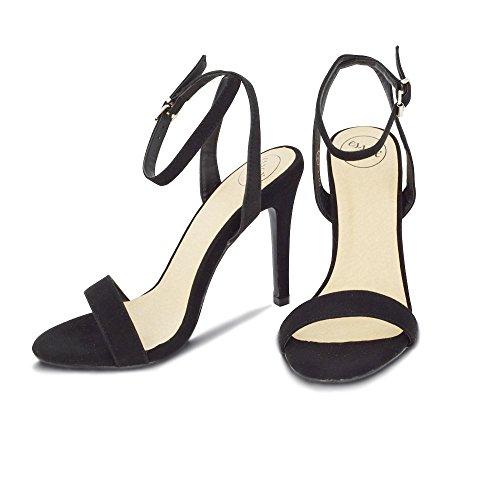 ESSEX GLAM Mujer Peep Toe Estilete Correa de Tobillo Sintético Sandalia Negro Gamuza Sintética