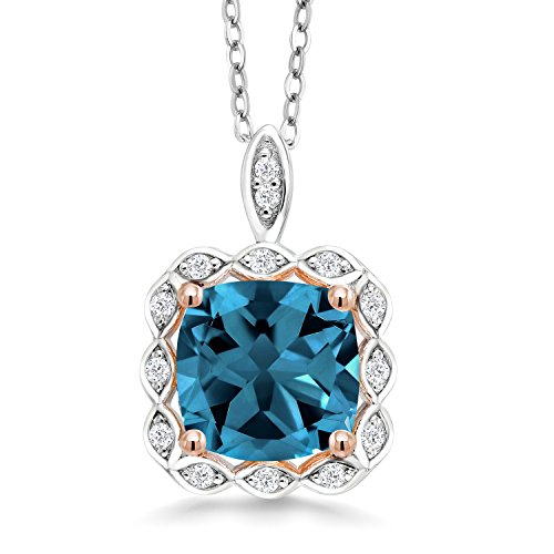 (Gem Stone King London Blue Topaz 925 Sterling Silver Pendant Necklace 2.91 Ctw Cushion Cut with 18 inch Chain )