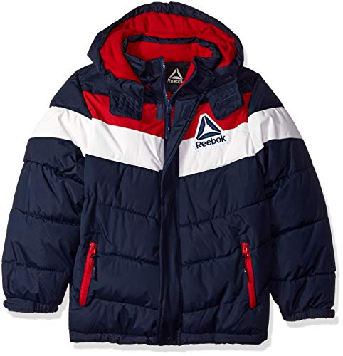 (Reebok Boys' Big Active Hooded Bubble Jacket, Navy, 18/20)