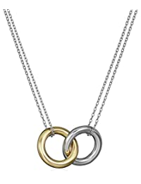 14k Rose Gold Flashed Sterling Silver and Sterling Silver Interlocking Circles Pendant Necklace, 17""