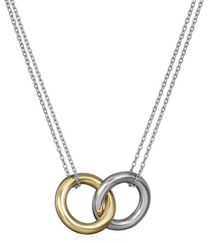 Gold Over Sterling Silver and Sterling Silver Interlocking Circles Pendant Necklace, 17