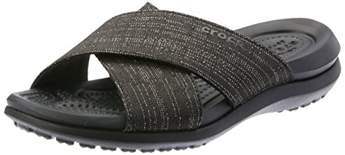 Women Capri Crocs (Crocs Women's Capri Shimmer Cross-Band Sandal Slide Black, 4 M US)