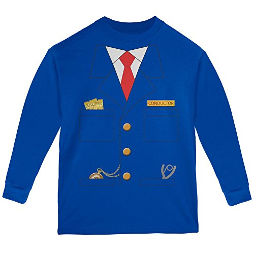 Halloween Train Conductor Costume Youth Long Sleeve T Shirt Royal -