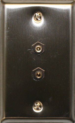 Stainless Steel Wall Plate with Two 3.5mm Stereo Feed-Thru Connectors : 75-1097 (3.5 Mm Feed)