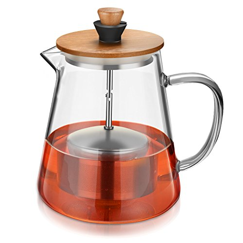 Tea Pot with Infuser Set - Borosilicate Glass Teapots Kettle with Tea Strainer and Coaster- Stovetop Safe -Glass Tea Maker Filter for Loose Leaf Iced Blooming