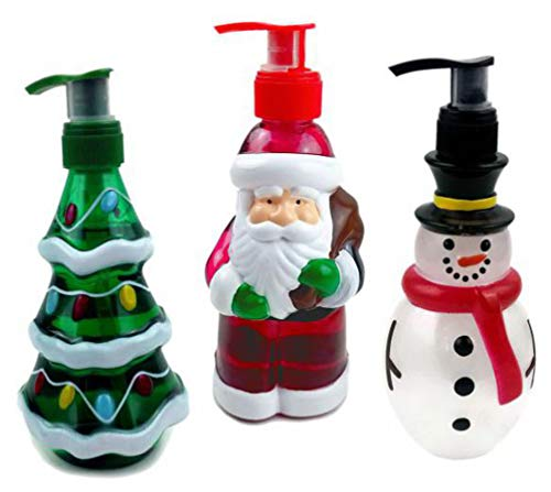 Oberstuff Holiday Hand Soaps Trio. Christmas Themed dispensers Shaped Like Santa Claus, Frosty The Snowman and a Christmas Tree. Each Approx. 10 Fluid oz Liquid Hand Soap Dispenser. -